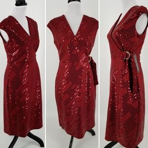 Luxology Red sequin after-five deess, sz S, NWT